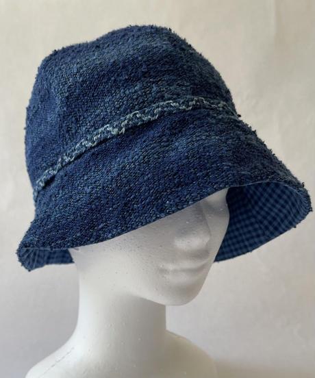 天然藍染 シルクチューリップ帽(リバーシブル)