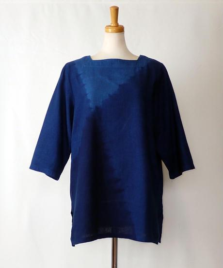 天然藍染めブラウス(スクエア襟・長・クロス)