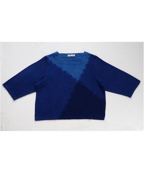 天然藍染めブラウス(スクエア襟・短・クロス)