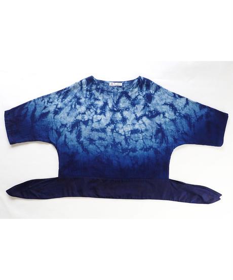 天然藍ガーゼ地ラグランブラウス2