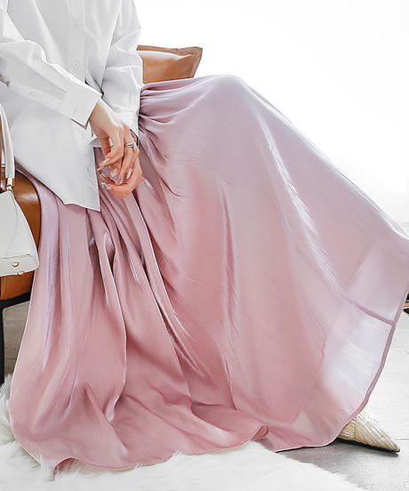 Satin long skirt