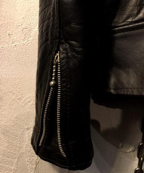70,s MADE IN UK Unknown SHEEPLEATHER LIGHTNINGモデル RIDERS JACKET ヴィンテージ美品