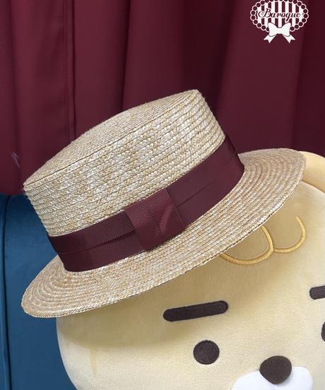 [Baroque] Chat Noirセーラー麦わらハット+オリジナルブローチセット【ご予約商品】