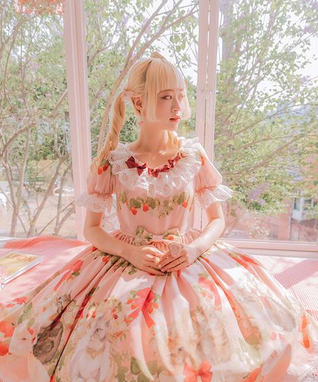 [Baroque]  Baroque x Sakizo Strawberry field's Cats ~イチゴ畑の猫たち~ ワンピース【ご予約商品】