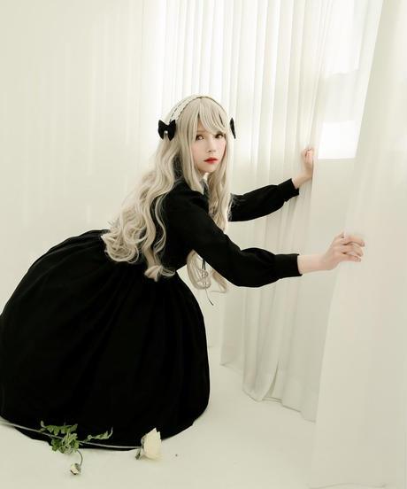 [Baroque] PIETA ロングワンピース 【ホリーブラックサテン生地追加、ご予約商品】
