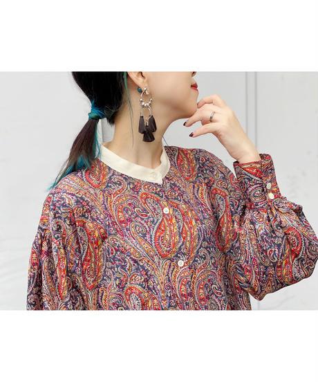 CHIGNONSTAR ★ paisley shirt one-piece / navy