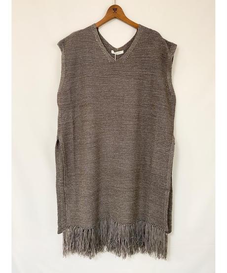 CHIGNON ★ tape yarn fringe long vest