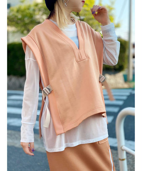 FOSI. ★ glossy jersey vest / or & gry