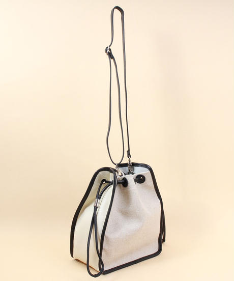 【B-20256】BEAURE ヴュレ カウレザー パイピング リネン 2WAY 巾着 ショルダーバッグ