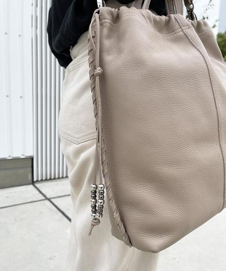 【B-21105】BEAURE カウレザー Point Stitch A4 巾着 トート