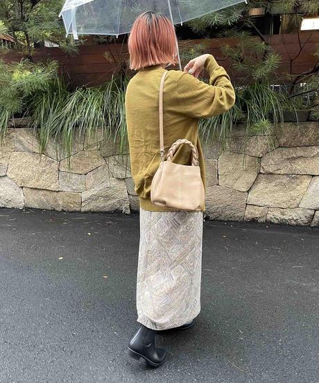 【B-21401】BEAURE カウレザー 三つ編み ハンドル 2WAY ミニ トート バッグ