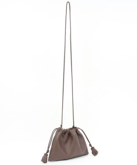 【B-21307】BEAURE カウレザー タッセル ミニ 巾着 ショルダーバッグ