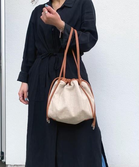 【B-20124】BEAURE ヴュレ コットンリネン 巾着 ショルダー