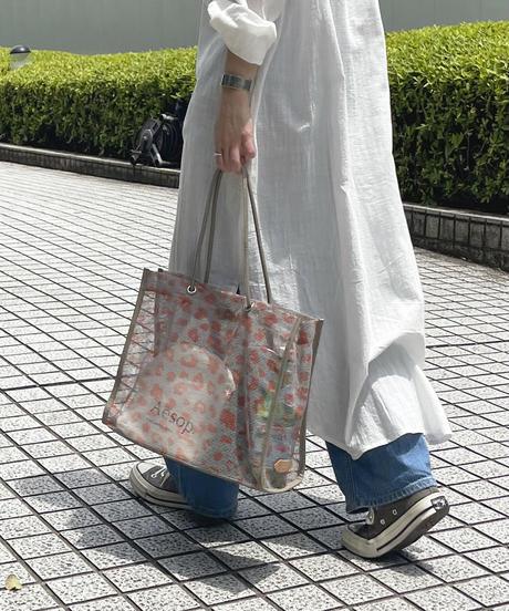 【B-20212】BEAURE ヴュレ レオパード メッシュ トート