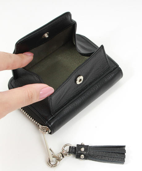 【B-21412】BEAURE カウレザー ハートコンチョ ミニ財布