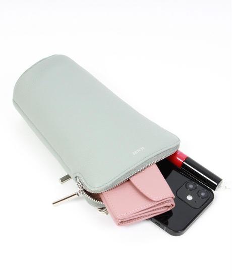 【B-21140】BEAURE ヴュレ カウレザー パールチェーン モバイル ショルダー バッグ