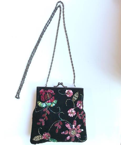 【Used】Velvet flower mini bag/ベロア花柄ミニバック