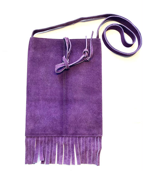 【Vintage】Suède purple shoulder bag / スエードフリンジ付きショルダーバッグ
