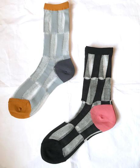 【Selected item】Stripe see through socks/変形ストライプ シースルーソックス/mg378