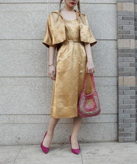 【Vintage】 DYNASTY 1950's Vintage Gold bolero dress /ボレロ付きゴールドドレス