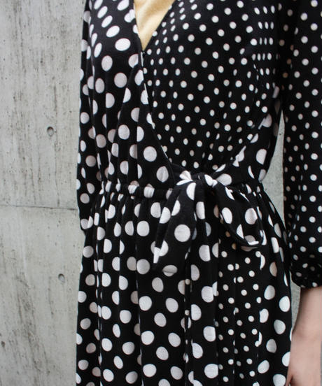 【Used】Dot cache coeur design  one piece / 水玉カシュクールワンピース