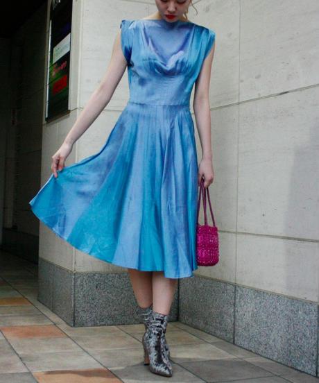 【Vintage】1950's  Blue satin dress / ブルーサテンドレス