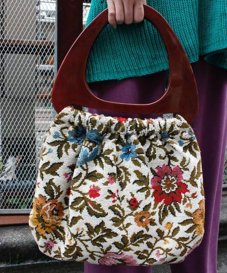 【Vintage】Gobelin tapestry hand  bag / 花柄ゴブラン織りハンドバッグ