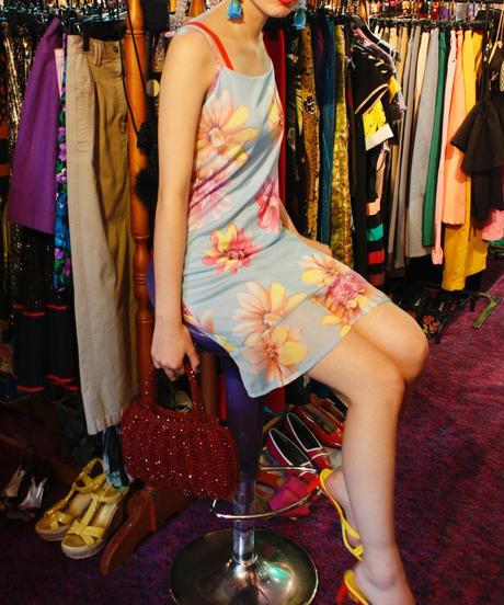 【Used 】Flower pattern slip dress / 花柄ワンピース