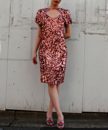 【Vintage】1970's  Pink gold Spangles dress / スパンコールドレス