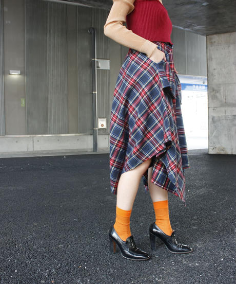 【migration】Block check asymmertry skirt / アシンメトリースカート