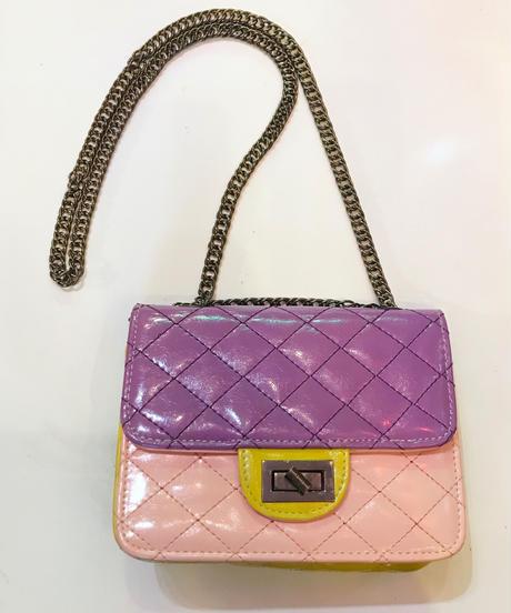 【Used】Quilting enamel shoulder bag / キルティングショルダーバック