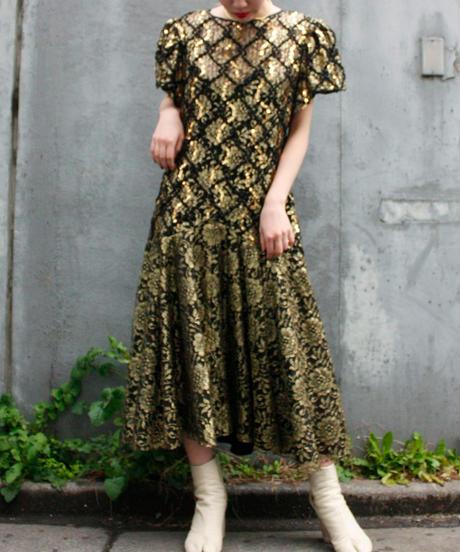 【Vintage】HW Collection 1980's  gold spangle dress / ゴールドスパンコール付きドレス