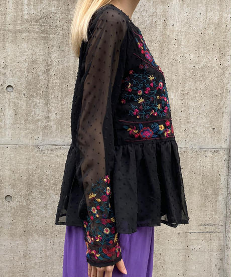 【Used】Flower embroidery tunic / 花柄刺繍チュニック
