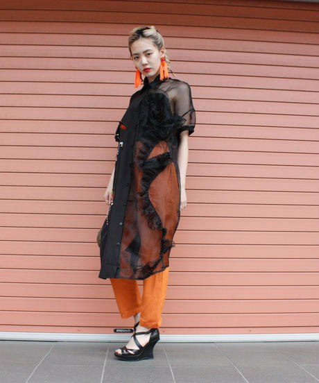 【Selected item】Asymmetry  design long shirts onepiece /  アシンメトリーロングシャツワンピース/ mg289
