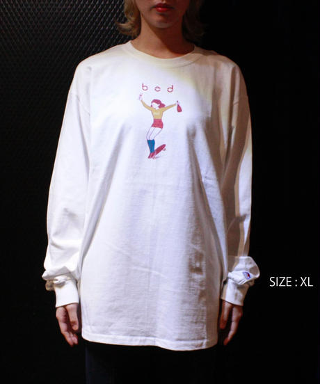 【bed】Original print long sleeve T shirt / White