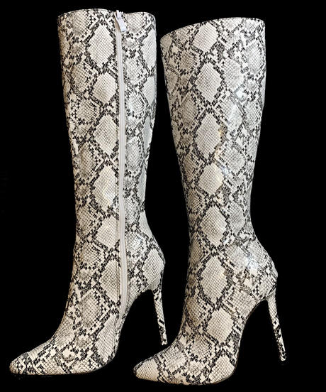 【migration】Python patten long heel boots / mg188/ パイソン柄ロングヒールブーツ