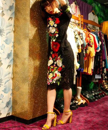 【Selected item】お花刺繍レースドレス/black