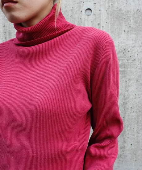 "【Used】Turtle neck lib tops ""Rose pink"" / タートルネックトップス"