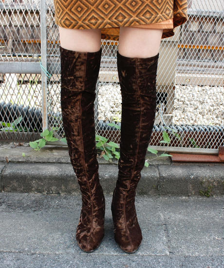 "【Used】""CHARLES JOURDAN"" Velours knee high boots / ニーハイベロアロングブーツ"
