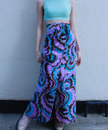 【Vintage】 Psychedelic flower patten long skirt / サイケデリック花柄ロングスカート