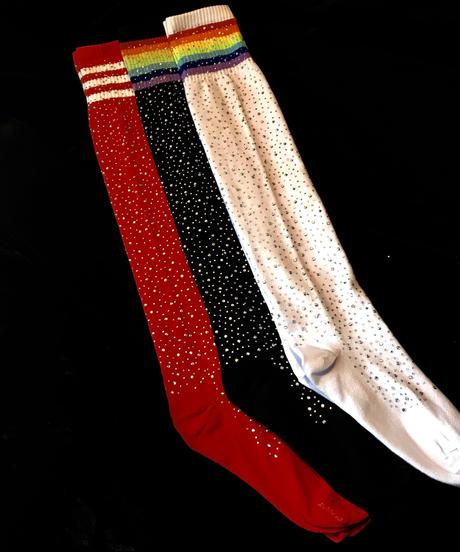 【Selected item】Rhinestone Knee high socks  / ラインストーンニーハイソックス