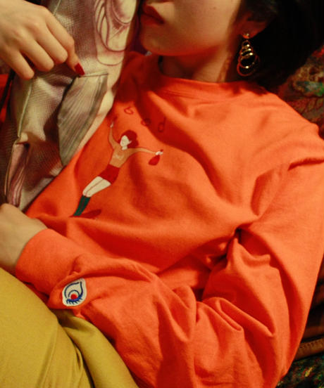 【bed】Original print long sleeve T shirt / Neon orange