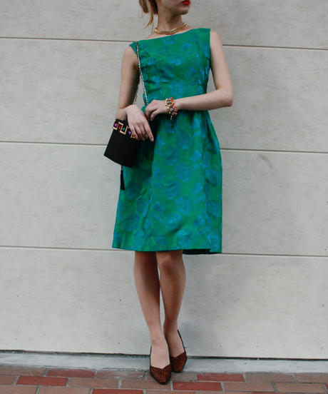 【Vintage】1970's  Jacquard flower pattern dress  / ジャガード織り花柄ワンピース
