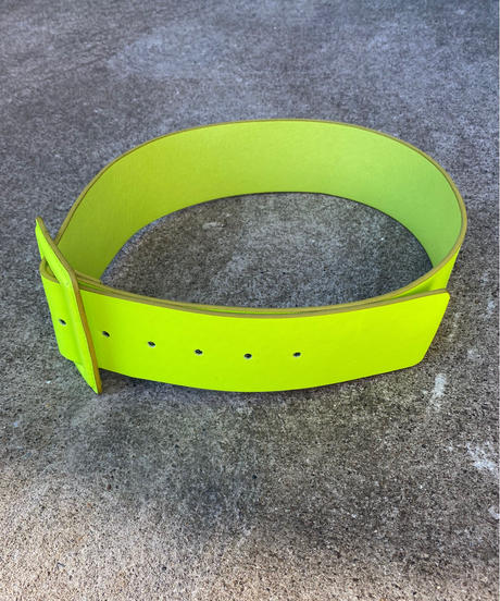 "【Used】Wide belt ""Neon yellow"" / 太ベルト"
