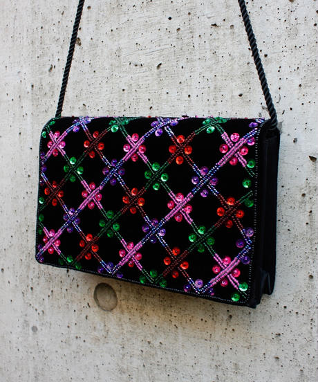 【Used】Velours spangles beads bag / ベロアスパンコールビーズバッグ