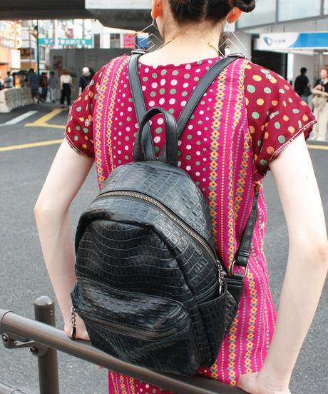 【Used】Crocodile pattern faux leather backpack / クロコダイル型押しミニリュック