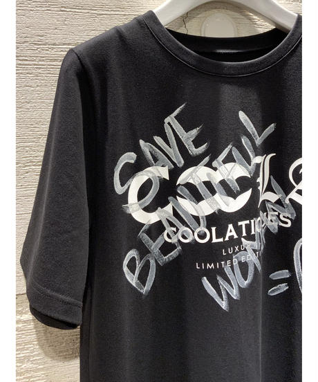 [COOLA]ペイントTシャツ【ブラック】