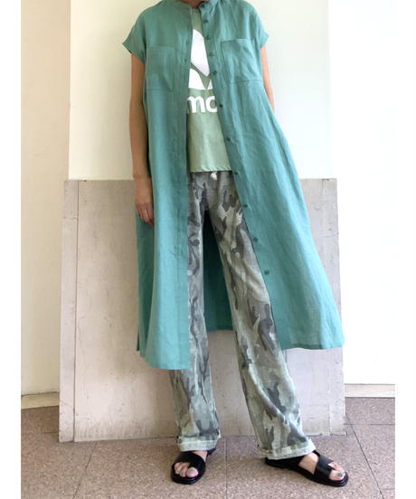 [GEY GRY]リネンノーカラーシャツワンピース【ネイビー】