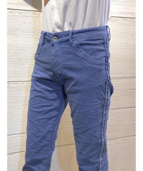 サイドスタッズラインカラーパンツ【ブルー】