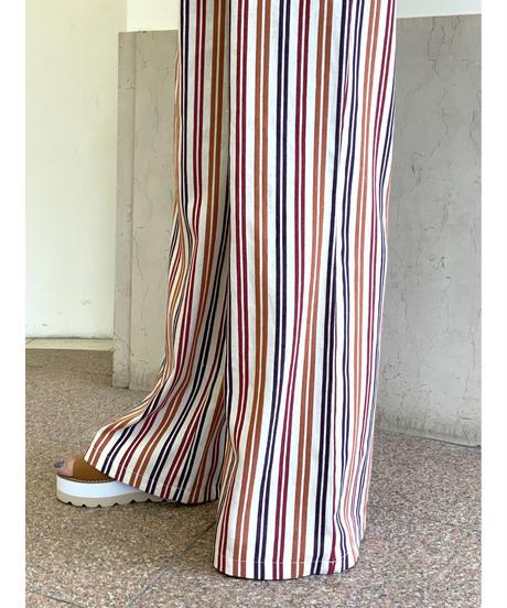 ストライプワイドパンツ【レッド】